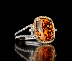 Mandarin garnet with white diamond and white gold band