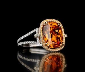 Mandarin garnet with white diamond and white gold band